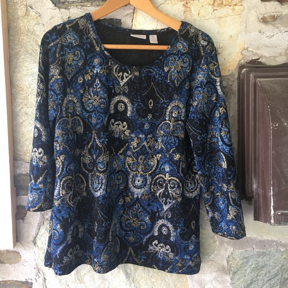Patterned 3/4 Sleeve Easy Wear By Chicos Top